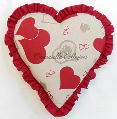 SOLOCUORI Pillow Collection Heart Shaped with Red Frill